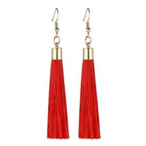 NEW! ❤️ RED TASSEL GOLD-TONE DANGLE EARRINGS